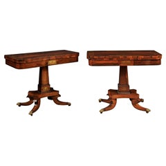 Pair of English Regency Period Rosewood Game Tables, Early 19th Century