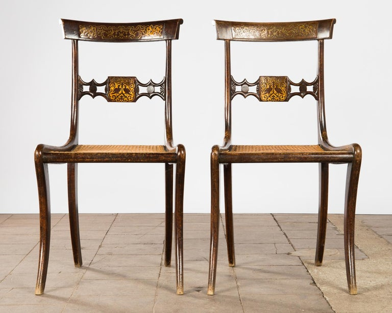 British Pair of English Regency Side Chairs For Sale