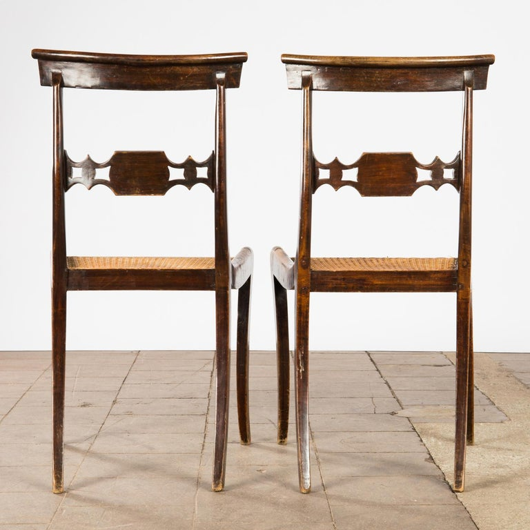 Mahogany Pair of English Regency Side Chairs For Sale