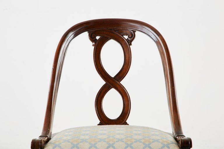 Pair of English Regency Spoon Back Mahogany Chairs For Sale 5