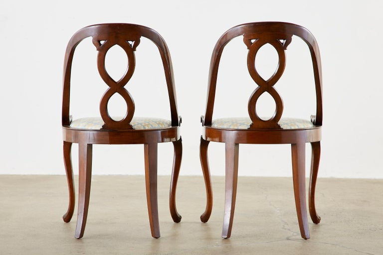Pair of English Regency Spoon Back Mahogany Chairs For Sale 11