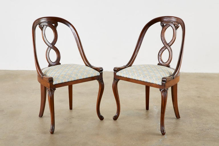 Hand-Crafted Pair of English Regency Spoon Back Mahogany Chairs For Sale