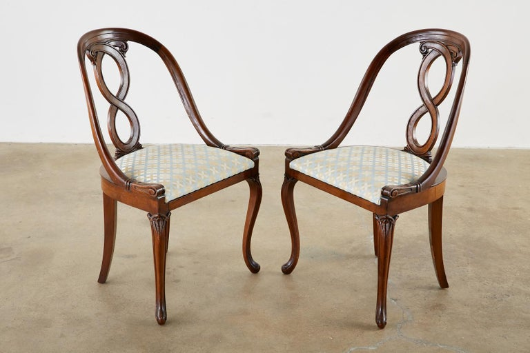 19th Century Pair of English Regency Spoon Back Mahogany Chairs For Sale