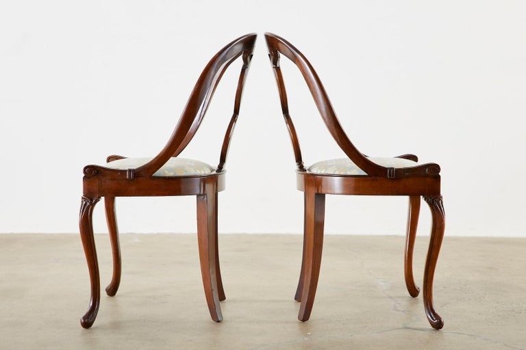 Pair of English Regency Spoon Back Mahogany Chairs For Sale 3