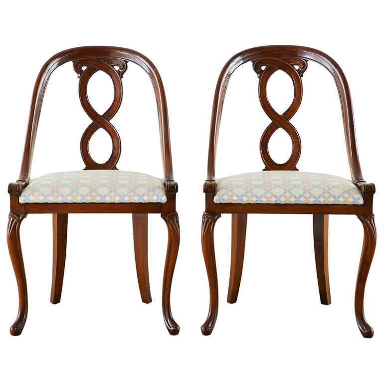 Pair of English Regency Spoon Back Mahogany Chairs For Sale