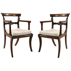 Pair of English Regency Style Brass Inlaid Oak and Cane Armchairs