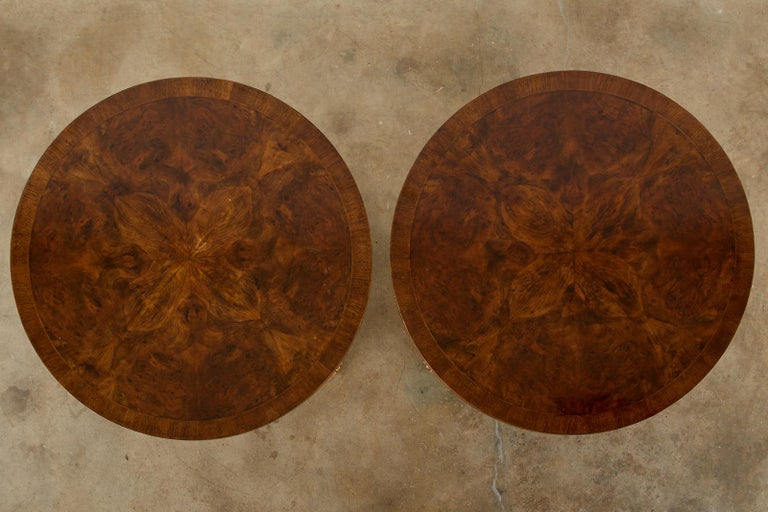 Hand-Crafted Pair of English Regency Style Burl Wood Library or Center Tables For Sale