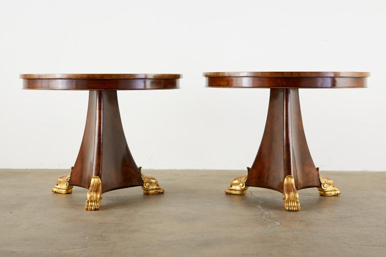 Pair of English Regency Style Burl Wood Library or Center Tables In Good Condition For Sale In Oakland, CA