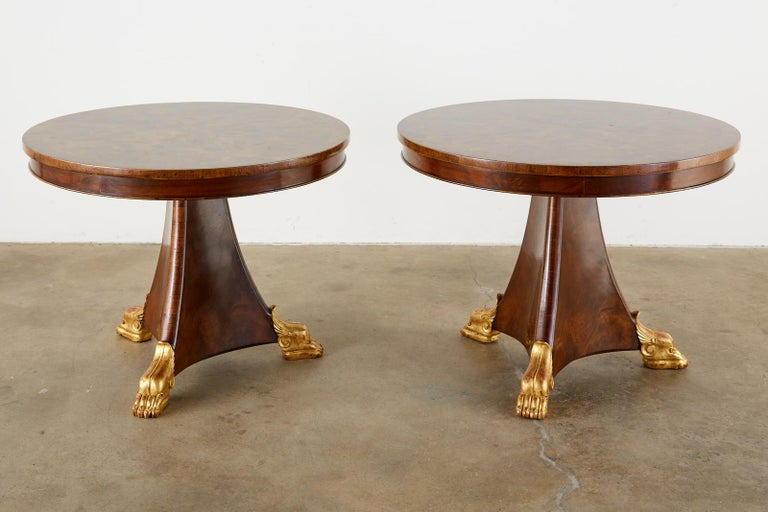 20th Century Pair of English Regency Style Burl Wood Library or Center Tables For Sale