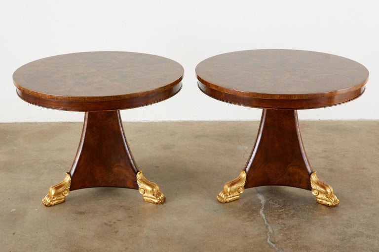 Giltwood Pair of English Regency Style Burl Wood Library or Center Tables For Sale