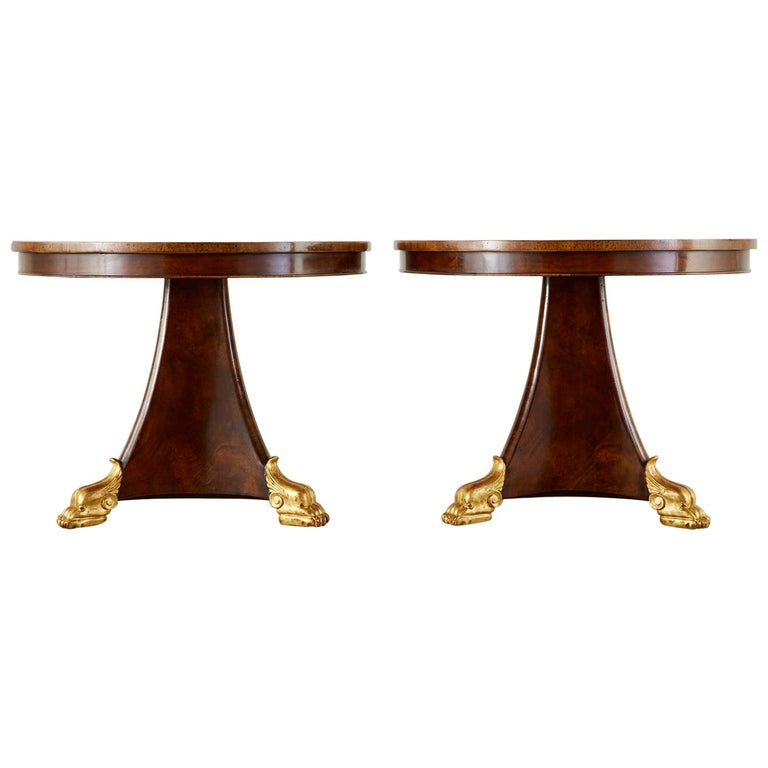 Pair of English Regency Style Burl Wood Library or Center Tables For Sale