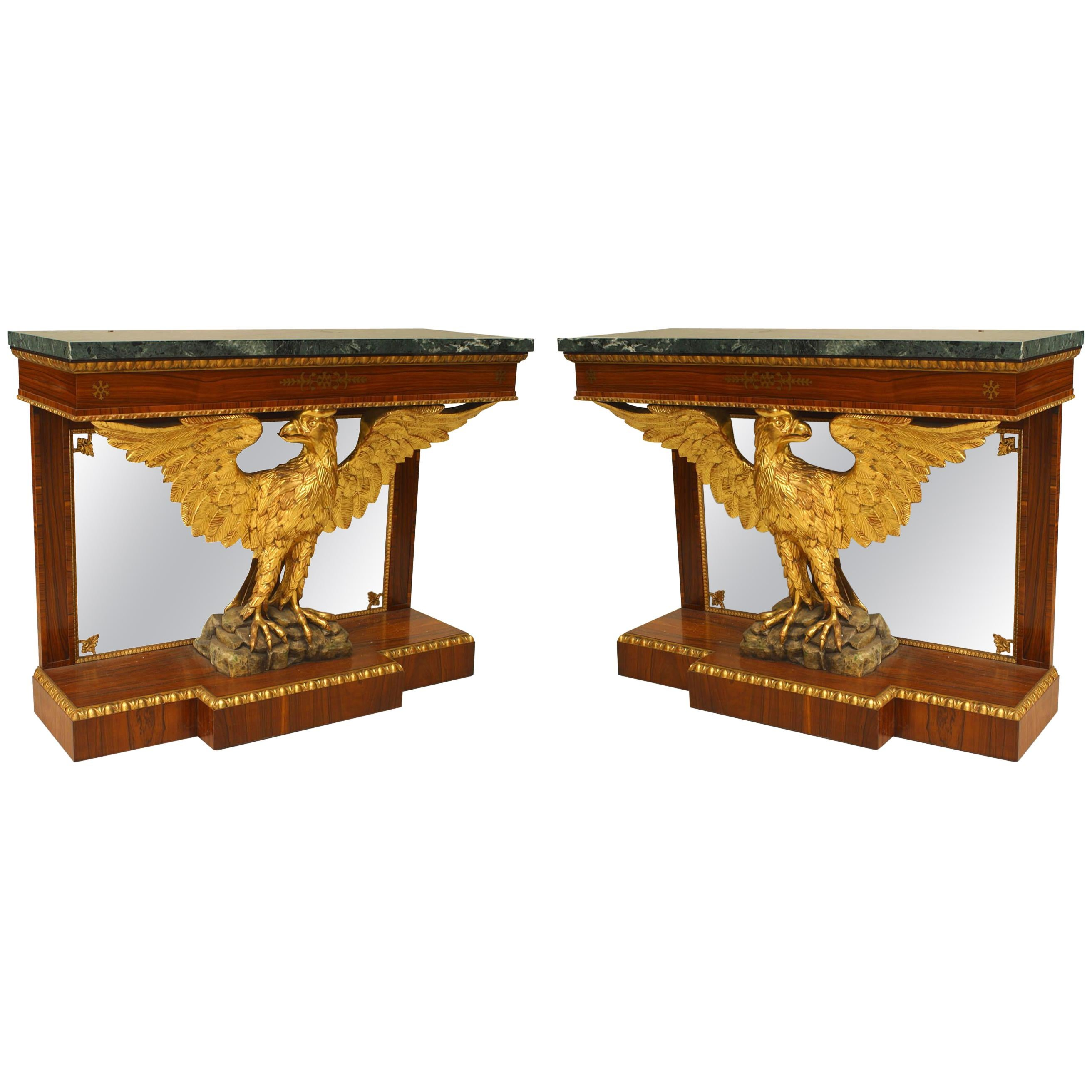 Pair of English Regency Style Console Tables
