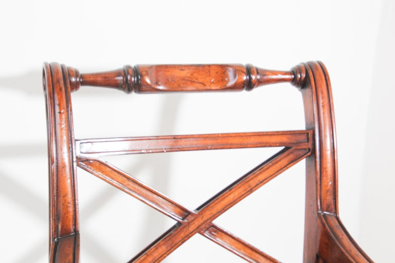 Pair of English Regency Style Library Cane Armchairs For Sale 4