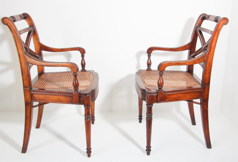 Pair of English Regency Style Library Cane Armchairs For Sale 5