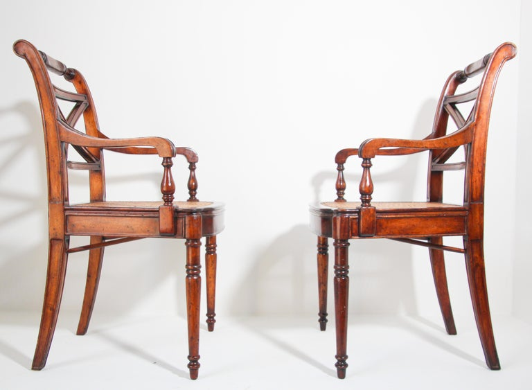 Pair of English Regency Style Library Cane Armchairs For Sale 6