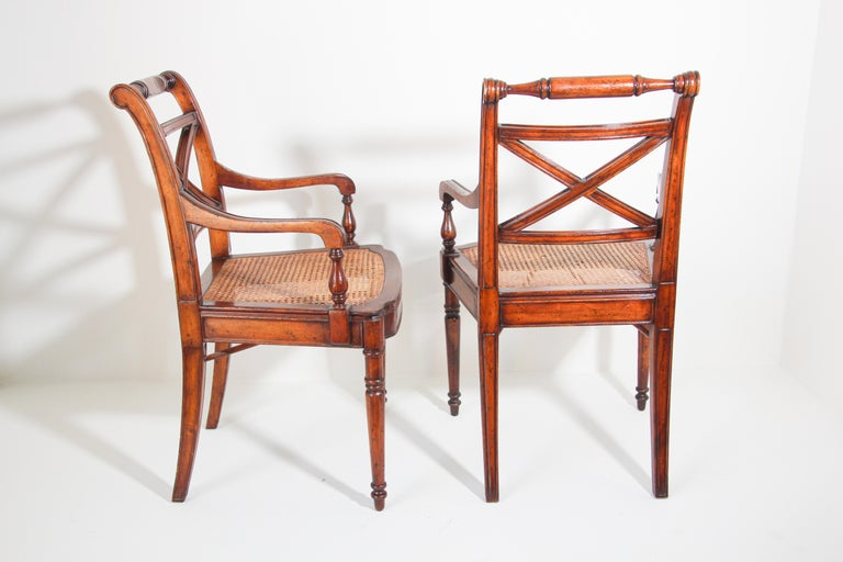 Pair of English Regency Style Library Cane Armchairs For Sale 9