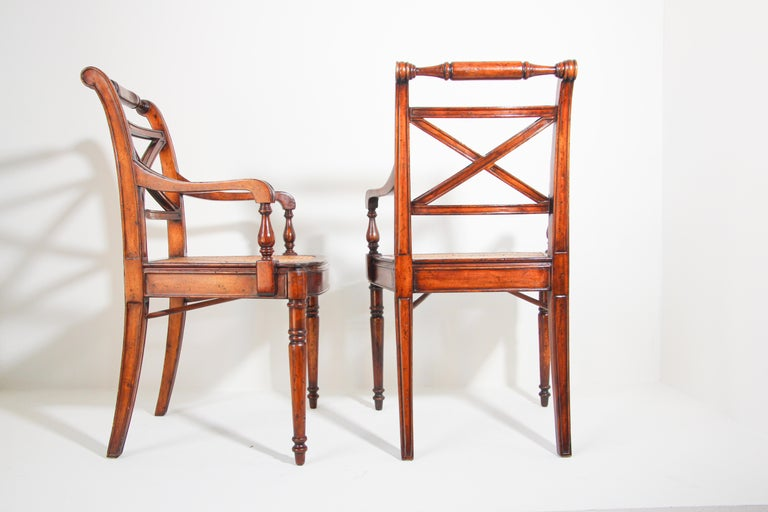 Pair of English Regency Style Library Cane Armchairs For Sale 10