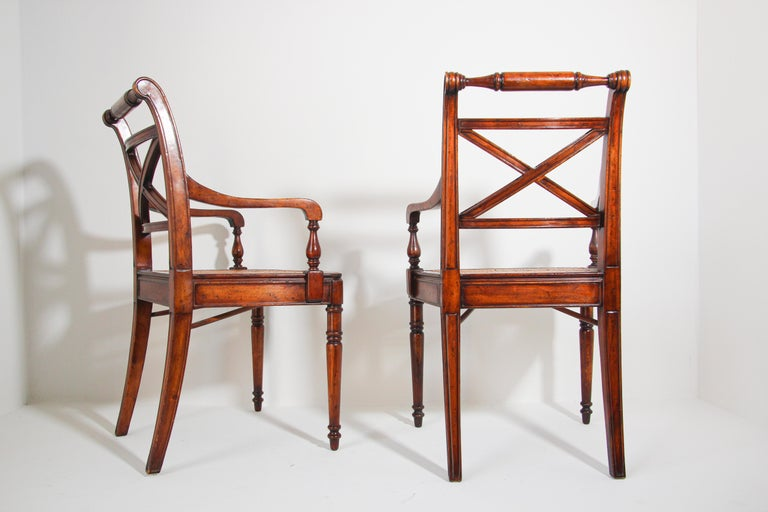 Pair of English Regency Style Library Cane Armchairs For Sale 11