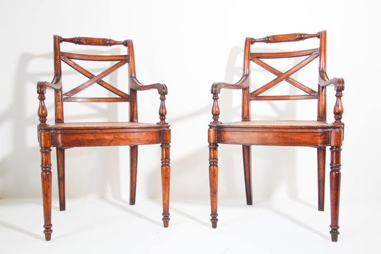 Anglo-Indian Pair of English Regency Style Library Cane Armchairs For Sale