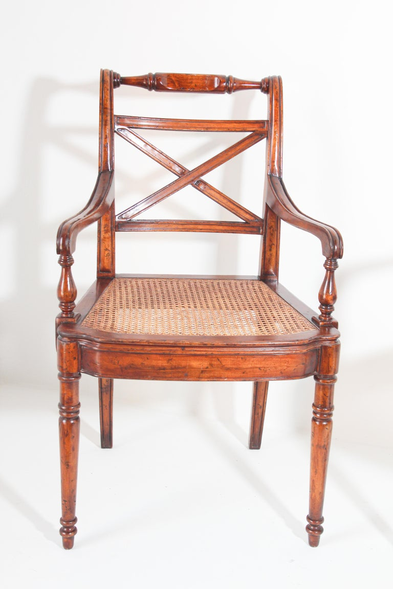 Pair of English Regency Style Library Cane Armchairs In Good Condition For Sale In North Hollywood, CA