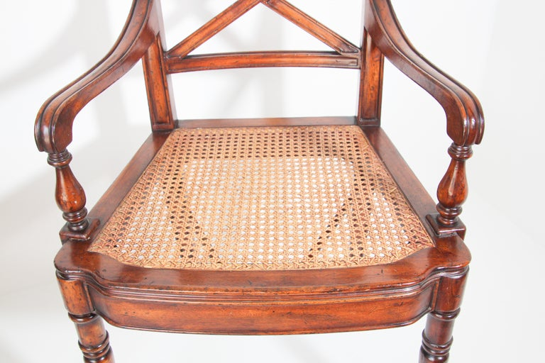 Mid-20th Century Pair of English Regency Style Library Cane Armchairs For Sale
