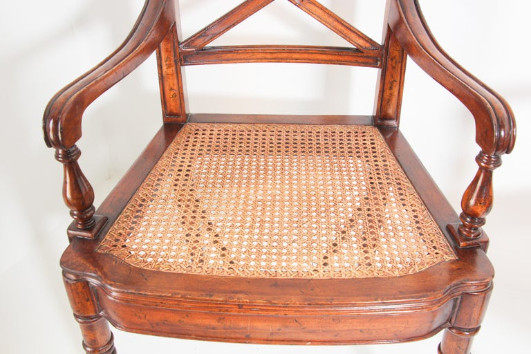 Pair of English Regency Style Library Cane Armchairs For Sale 1