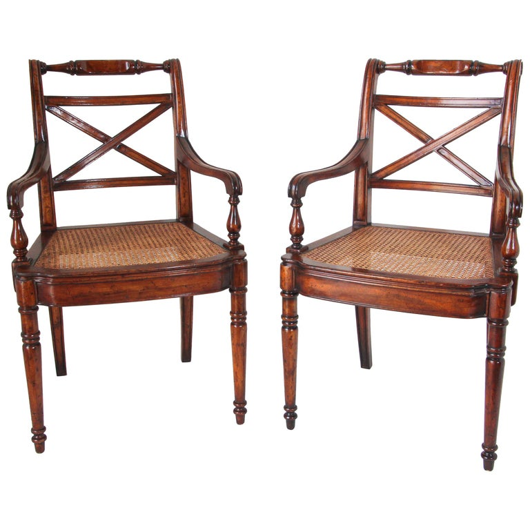 Pair of English Regency Style Library Cane Armchairs For Sale
