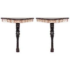 Pair of English Regency Style Lion Leg Bracket Console Table