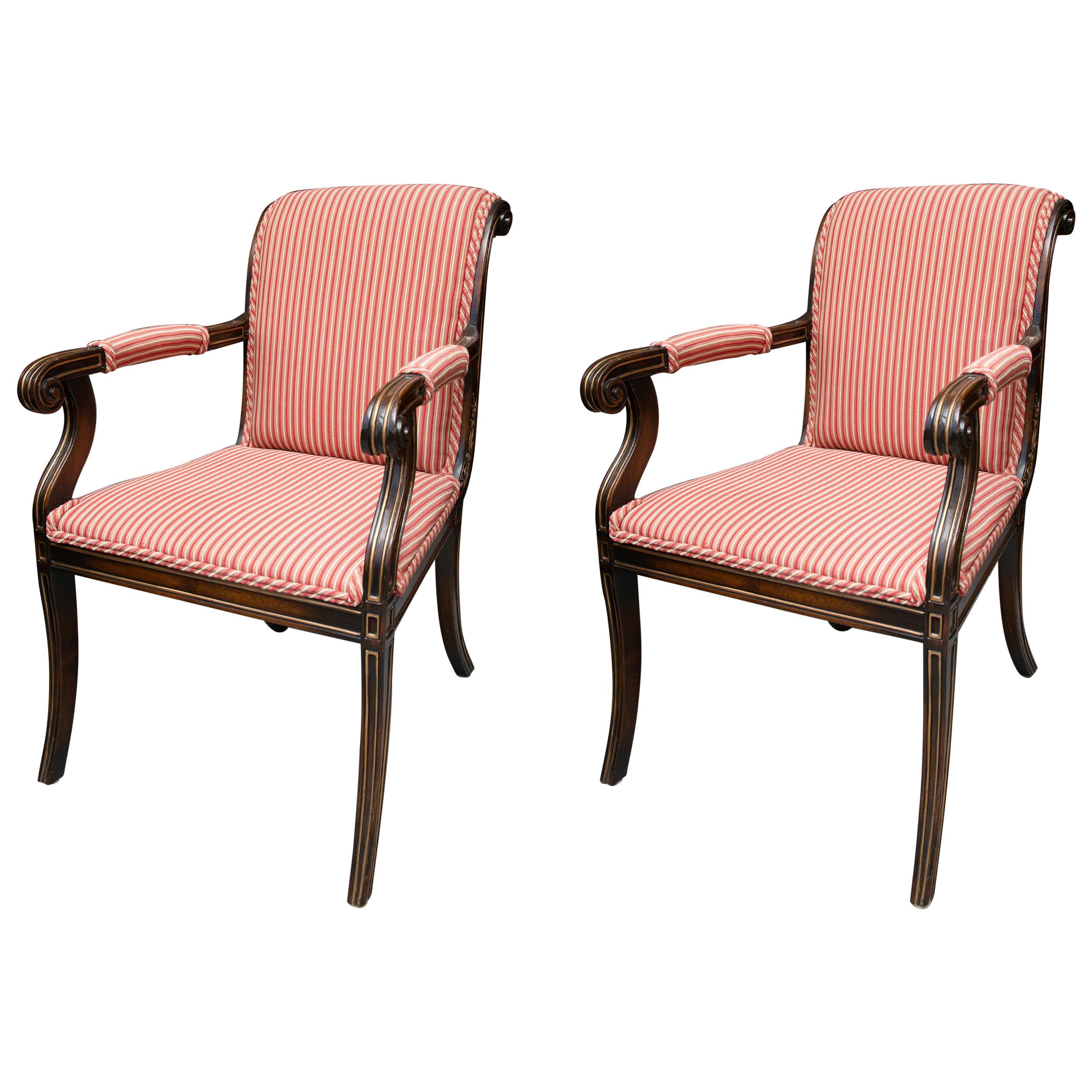 Pair of English Regency Style Mahogany and Parcel Gilt Klismos Armchairs