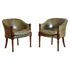 Pair of English Regency Style Mahogany Club Chairs in Green Leather 20th Century