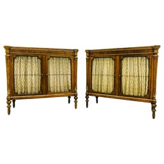 Pair of English Regency Style Rosewood and Parcel-Gilt Cabinets