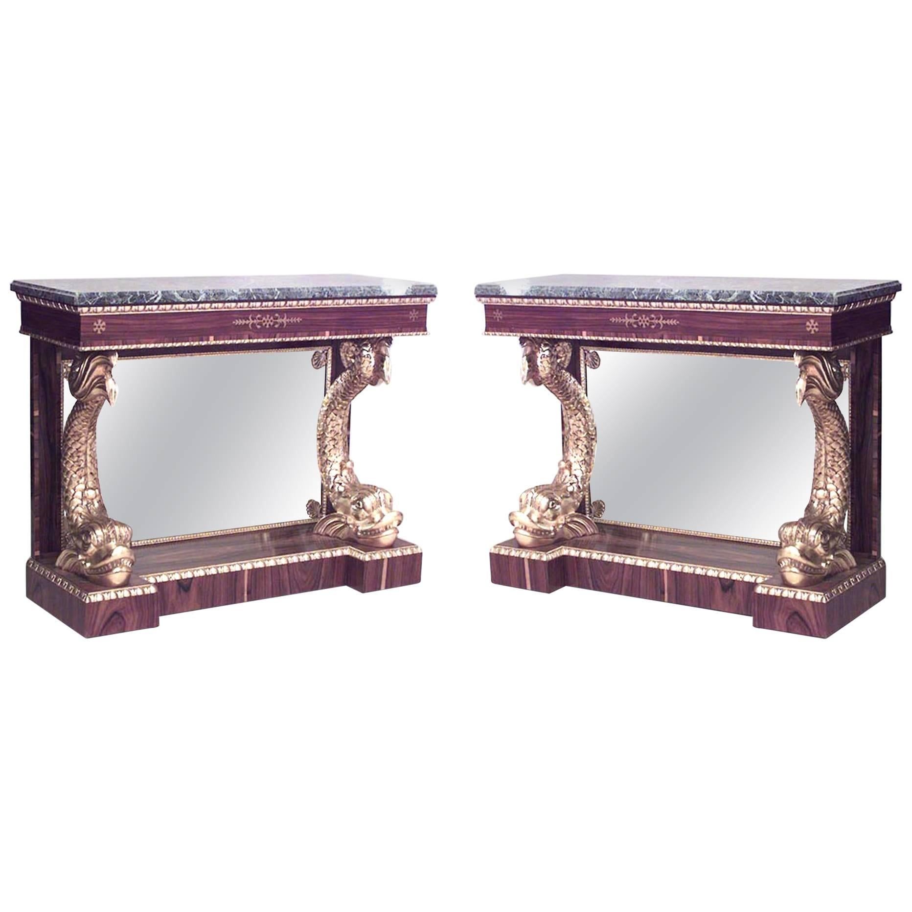 Pair of English Regency Rosewood Gilt Dolphin Console Tables