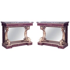 Pair of English Regency Style Rosewood Console Tables