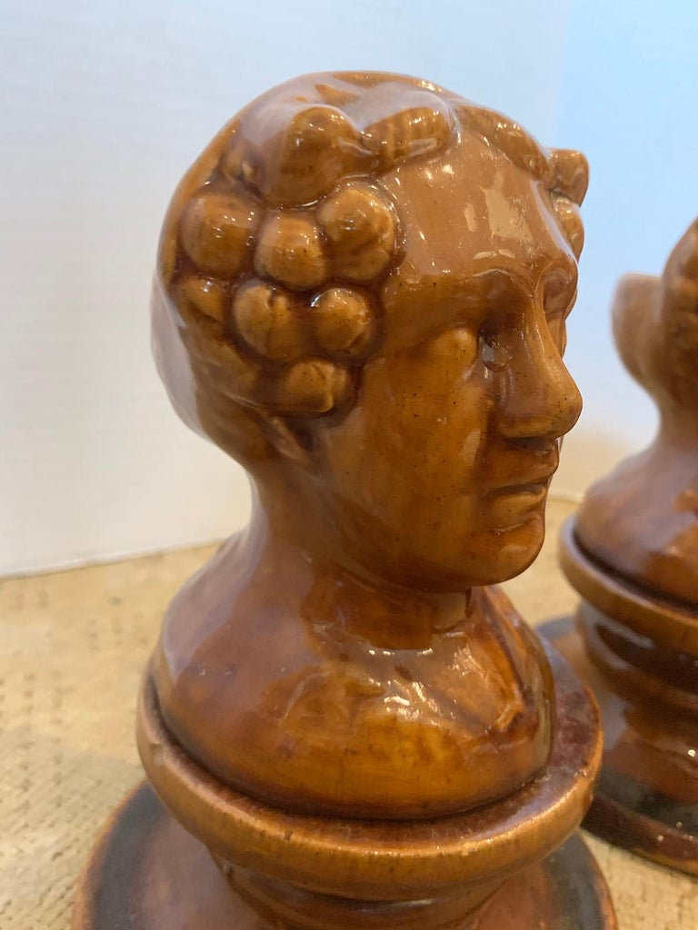 Pair of English Rockingham Glazed Stoneware Figural Woman Window Rests For Sale 8