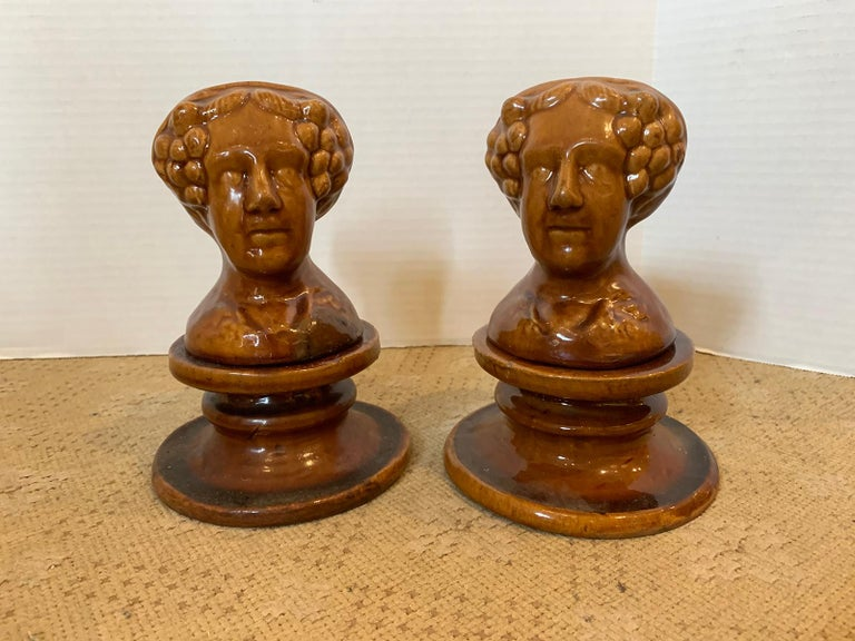 Pair of English Rockingham Glazed Stoneware Figural Woman Window Rests In Good Condition For Sale In Atlanta, GA