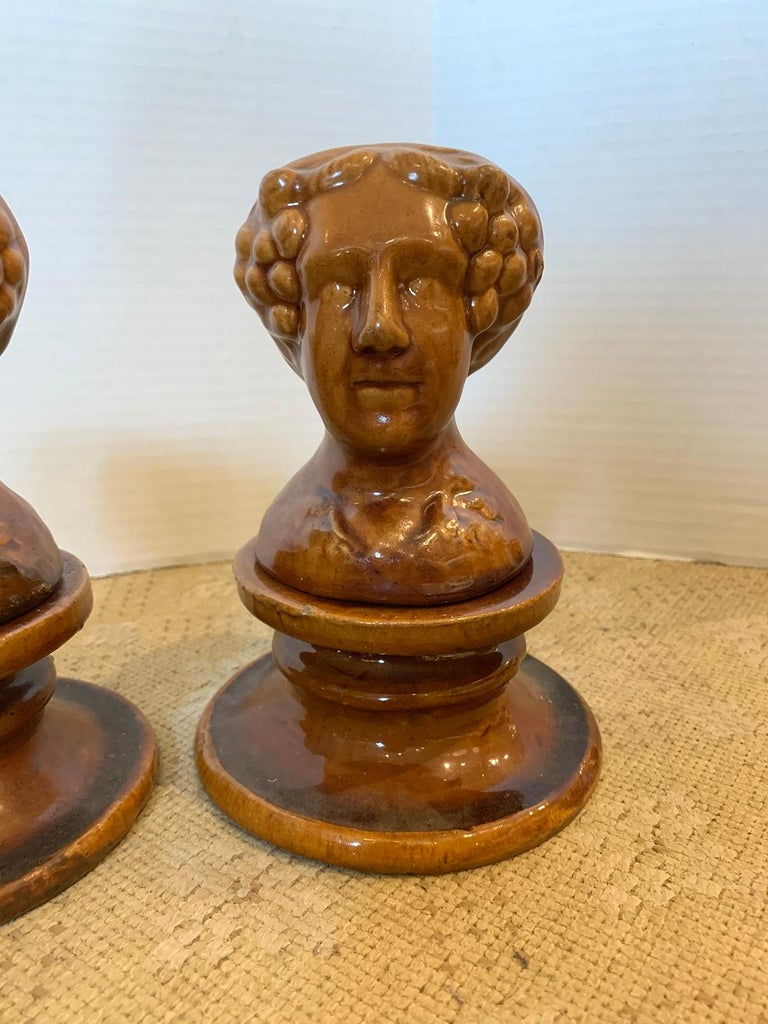 Pair of English Rockingham Glazed Stoneware Figural Woman Window Rests For Sale 1