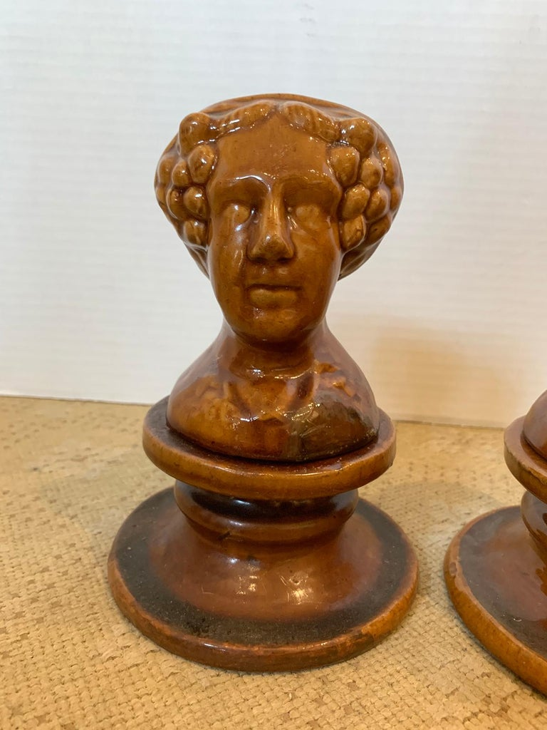 Pair of English Rockingham Glazed Stoneware Figural Woman Window Rests For Sale 2