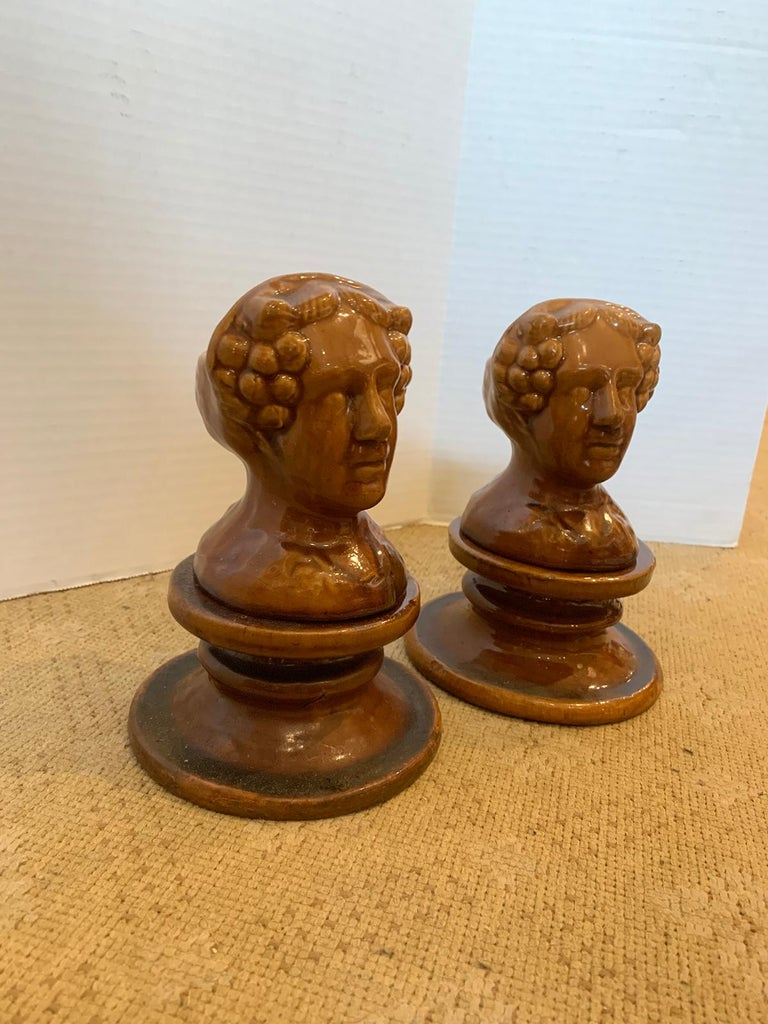 Pair of English Rockingham Glazed Stoneware Figural Woman Window Rests For Sale 3