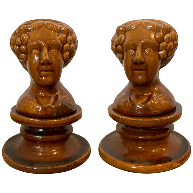 Pair of English Rockingham Glazed Stoneware Figural Woman Window Rests For Sale