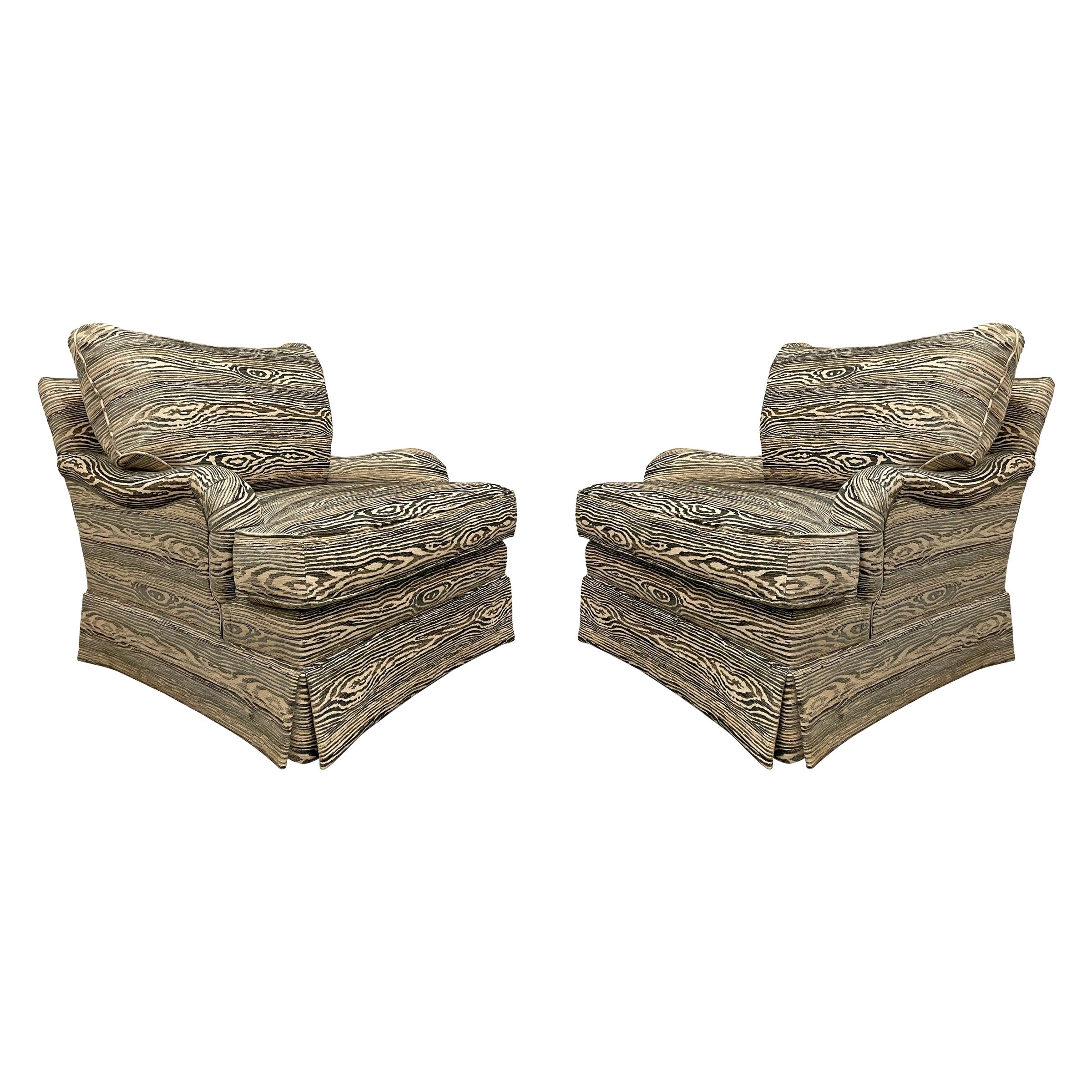 Pair of English Roll Arm Chairs with Faux Bois Upholstery