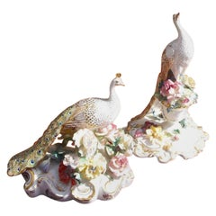 Pair of English Royal Crown Derby Porcelain Hand Painted Peacocks, Circa 1880