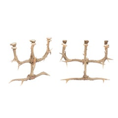 Pair of English Rustic Antler Three-Arm Candelabra from the 1940s