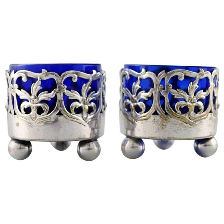 Pair of English Salt Cellar with Glass Inserts in Blue For Sale