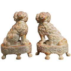 Pair of English Saltglaze Spaniels on Oval Bases, Briddon Pottery, 1830