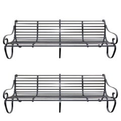 Pair of English Scrolled Wrought Iron Powered Coated Garden Benches, circa 1780