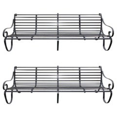 Pair of English Scrolled Wrought Iron Powered Coated Garden Benches, Circa 1820