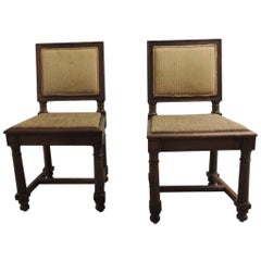 Pair of English Side Chairs with Upholstered Back in Fortuny Tapa Pattern