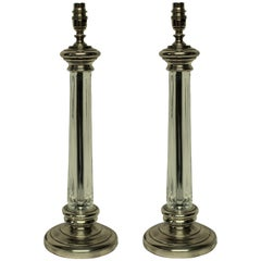 Pair of English Silver & Cut-Glass Column Lamps