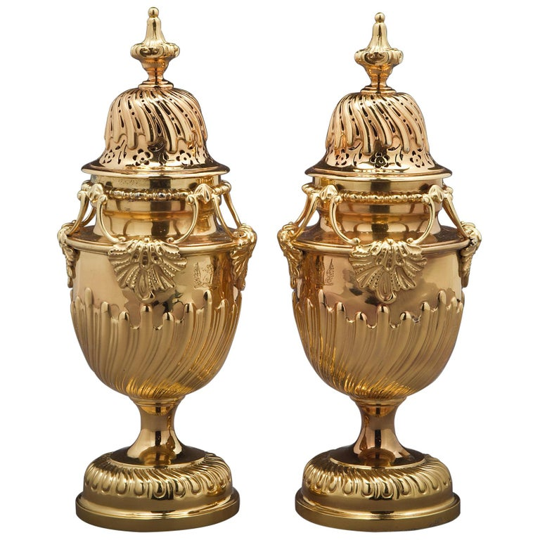Pair of English Silver-Gilt Sugar Casters For Sale