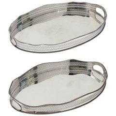 Pair of English Silver Oval Gallery Serving or Drinks Trays 'Priced as a Pair'